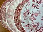 Vintage Mismatched China Bread Plates ~ Pink / Red Transferware ~ Set of 4~