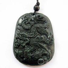 Chinese Zodiac Dragon Amulet Pendant Black Green Jade Gemstone Happy Lucky