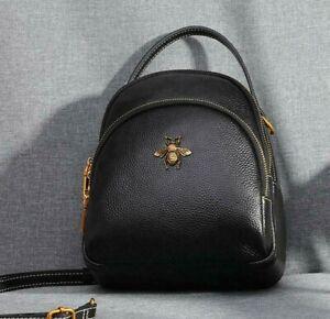 Women Web Bee Shoulder Crossbody Bag Genuine Leather Backpack