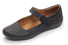 Clarks Ladies Nubuck Mary Jane Flat Shoes 'Autumn Stone' BLACK UK 5D (small fit)