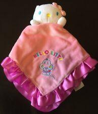 Hello Kitty Security Blanket Lovey Baby Plush Pink Satin Sanrio
