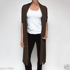 Escada Sport Sera Bark Brown Short Sleeve High-Low Silk Cardigan XS $700
