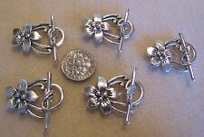 5 Tibetan Silver Flower Toggle Clasps 30mm, findings
