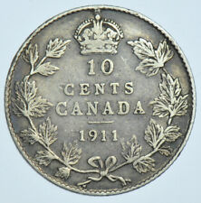 CANADA, GEORGE V 10 CENTS, 1911 SILVER COIN VF