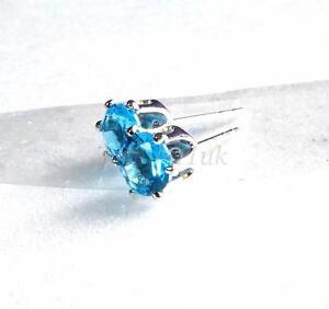 Men Women Stud Earrings White Gold Plated Aqua Sea Blue Simulated Diamond 5mm UK