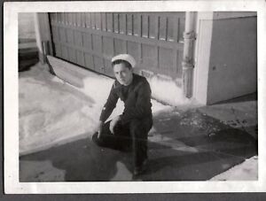 VINTAGE PHOTOGRAPH COAST GUARD/NAVY MAN HAT MANISTEE GRAND HAVEN MICHIGAN PHOTO