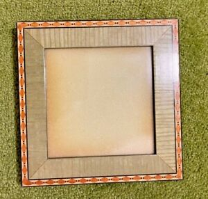 """Inlaid Wood Square Green and Tan Frame 4.75 x 4.75"""" Opening"""