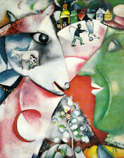 """MARC CHAGALL ART PRINT """"I AND THE VILLAGE"""" RURAL SCENES FROM RUSSIA"""