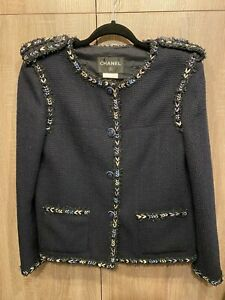 Chanel Tweed Jacket Navy with Blue Accents 42 Worn Once (with tags) Authentic