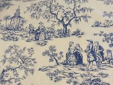 Cotton Fabric, Blue Toile de Jouy Printed Design, Extra Wide Fabric,  Per Meter