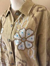 Alex Ku Floral Sequin Tan Caramel Cotton Blend Jacket Size Petite Large