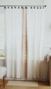 "Threshold Embroidered Stripe Cream & Taupe Fabric Shower Curtain 72"" x 72"" NIP"