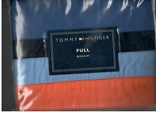Tommy Hilfiger Trevor Full Bed Skirt Blue Navy Orange Nautical New