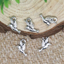 25pcs Tiny Flying Bird Charms Antiqued Silver Tone Double Sided 11x13mm