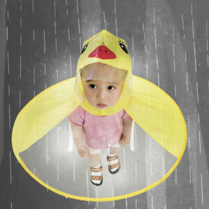 Cute Rain Coat UFO Children Boys Girls Umbrella Hat Magical Hands Free Raincoat