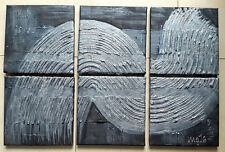 Acrylbild Leinwand 60 x 40 schwarz silber Strukturen abstrakt modern Gemälde