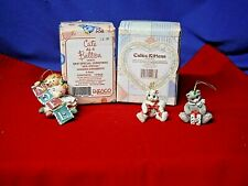 Enesco Calico Kittens & Cute as a Button Figurine's/Ornament New/Old Stock (E-6)