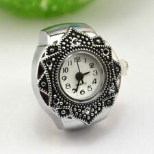 Creative Cute Girls Tibet Silver Petal Flower Fingers Ring Quartz Watch Jewelry