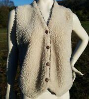 Vintage 1970's Iron Run Sherpa Knit Sweater Vest Brown Tan Ivory M/L