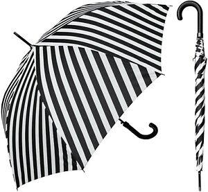 "48"" Arc Black&White Stripe Print, Auto-Open Umbrella-RainStoppers Rain/Sun UV"