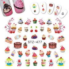 Nail Art Water Decals Transfers Stickers Summer Ice Cream Sundae Cupcake (477)