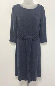 NEW! Linea UK10 grey glitter Winter Wonderland knot waist stretch bodycon dress