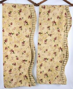 """Waverly Fontanelle TWO Fairfield Valances Floral Striped Beige Gold 75""""x16"""""""