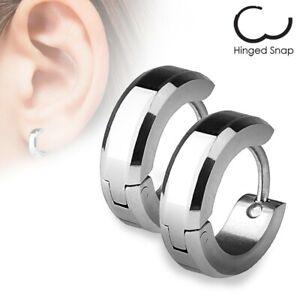 Stainless Steel Beveled Huggie Cuff Hoop Earrings Black Blue Rose Gold Silver