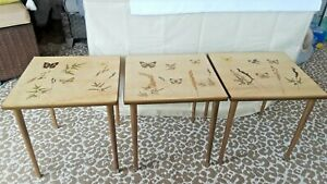 Set of 3 Mid-Century Stacking Tables Butterfly Design Nesting Vintage 1950s/60s