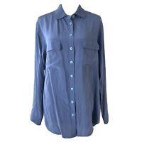 Equipment Femme Women Blue Button Down Silk Shirt Long Sleeve Blouse Size Medium