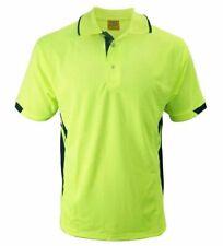 2X Hi-Vis Safety T-Shirt Lapel Stripe Work Wear Cooldry Shirt Polo Streak Shirt