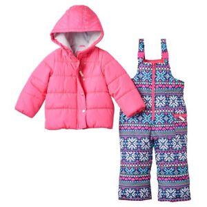 Carter's Girl's Pink Eared Puffer Winter Coat & Fairisle Snow Bib Sz.12 M NWT