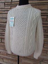 NWT  Bonner Wool Mens Cream Fishermans Wool Knit ski Sweater Ireland sz 44  Med.