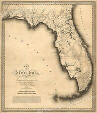 1823 Historic Map of Florida and Gulf of Mexico - 20x24