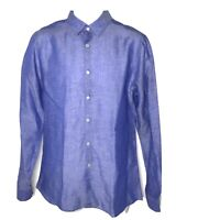 Zara Dress Shirt Men Medium Tencel Linen Slim Fit Blue Chambray Button Up M