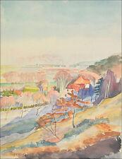 Originale antike Aquarelle (bis 1945) auf Papier mit Landschafts- & Stadt-Motiv