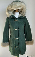 Topshop Moto Green Faux Fur Trim Toggle Hooded Parka Coat, Retro, Size 10