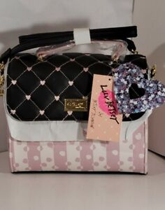 Luv BETSEY JOHNSON Satchel Crossbody  Pink/BLACK Quilted hearts  handbag  purse
