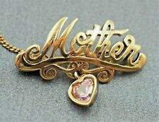 """Womens """"Mother"""" Brooch Pink Quartz Heart 925 Sterling Silver Gold Plated Vintage"""