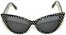 CAT EYE OWL SUNGLASSES DARK LENS POLKA DOTS GLASSES UV400  BLACK WHITE DOTS