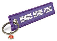 REMOVE BEFORE FLIGHT -beidseitig- Lila purple Schlüsselanhänger Keyring Anhänger