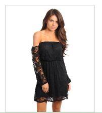 Black Lace Dress Cold Shoulder Boho Style Size Small USA