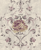 Lush Blossoms Looks Hand Painted Lilac, Purple, Gunmetal, Double Roll Wallpaper