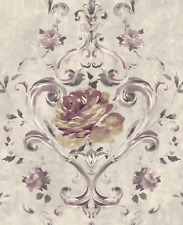 Floral Wallpaper Purple Silver Modern Damask Chinoiserie Style Samples Available