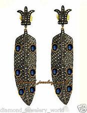 Silver Artdeco Estate Earring Jewelry 6.73cts Rose Cut Diamond Sapphire Studded