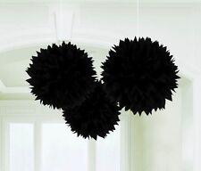 FLUFFY Black Tissue Poms 3 Piece Wedding Decoration
