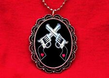 GUN HEART TATTOO PISTOL REVOLVER PENDANT NECKLACE