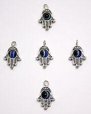 5 X Jewellery Making Craft Silver Hamsa Pendant Hand Fatima Charm Evil Eye 20 mm
