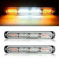 2PCS White/Amber 24 LED Car Truck Emergency Warning Hazard Flash Strobe Lights