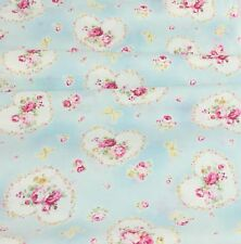 ~ JAPAN LECIEN PRINCESS ROSE COLLECTION FABRIC BLUE HEARTS OOP FAT QUARTERS ~